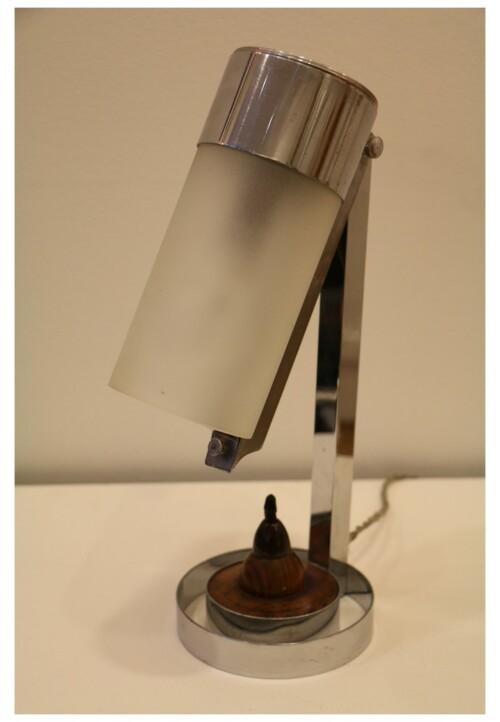 Lampe moderniste en métal chromé par Boris Lacroix, vers 1930