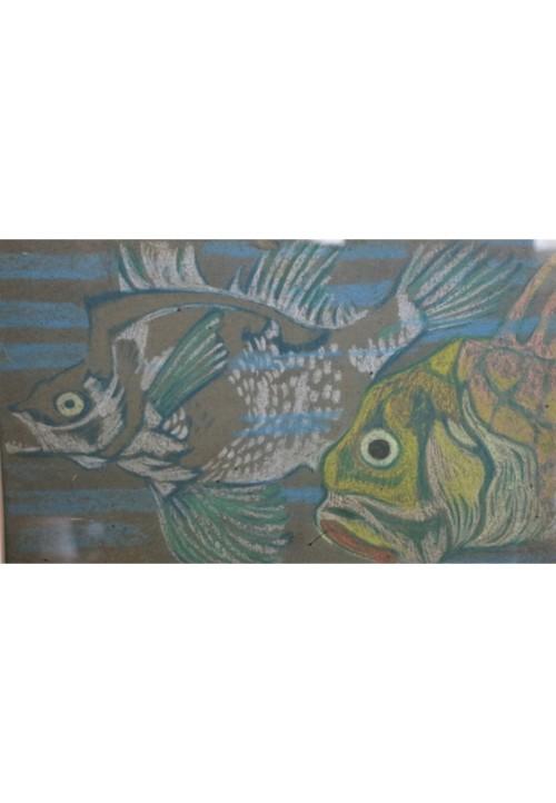 Projet de papier-peint à motif de poissons, vers 1910-1920
