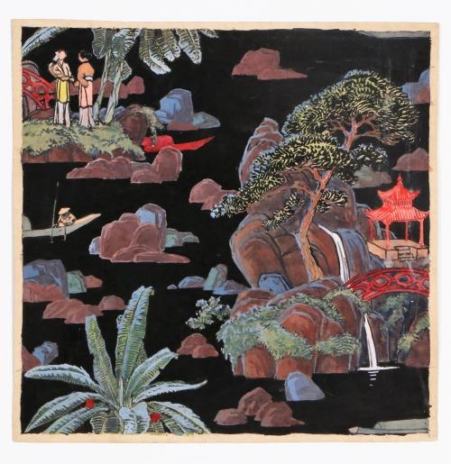 Projet de papier peint à paysage chinois, vers 1910-1920