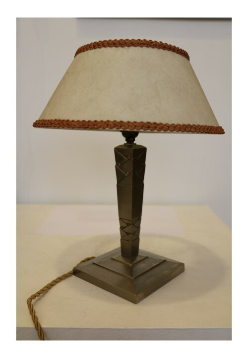 Lampe de table en métal nickelé par Edgar Brandt, vers 1925-1930